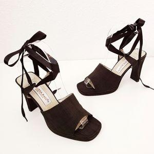 90s Vintage Black Square Toe Lace Up heels Pumps